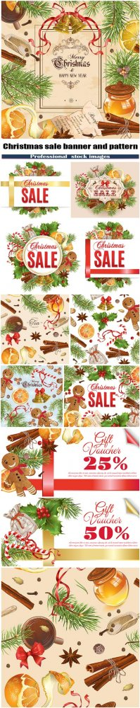 Christmas sale banner and pattern