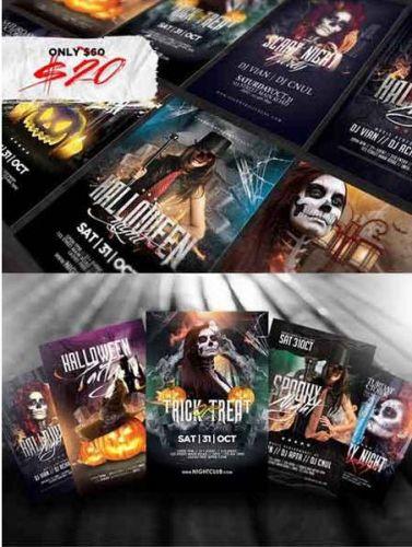 CreativeMarket - 10 Halloween Flyers Bundle