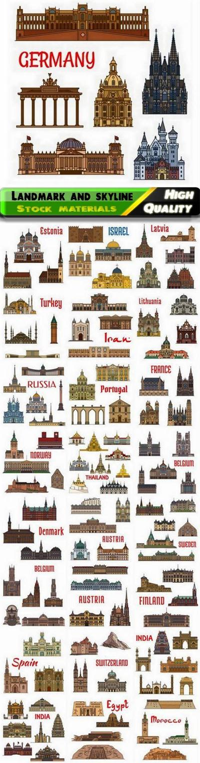 Flat landmark and skyline of city buildings of the world - 25 Eps