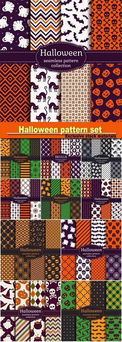 Halloween seamless patterns, vector set