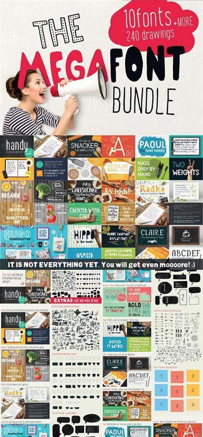 MEGAFONT - Font & Graphics bundle - 918022