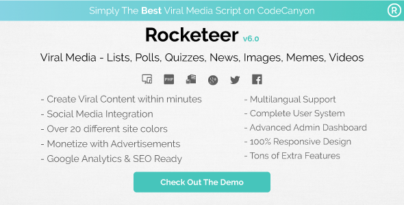Rocketeer v6.0 - Viral Media Lists, Polls, Quizzes, News, and Videos