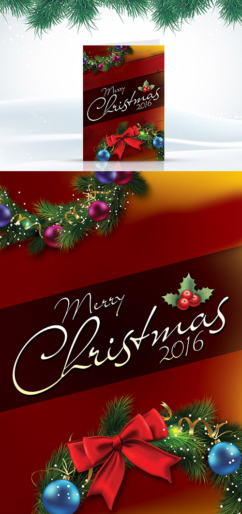 PSD Template - Christmas Greetings Card 2017