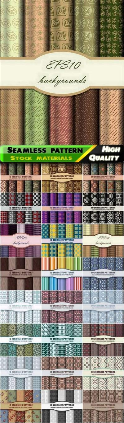 Set of creative geometric and colored seamless pattern and ornament - 25 Eps