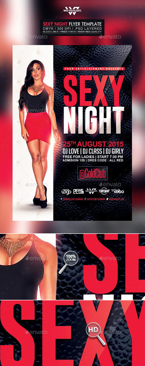 Sexy Red Black and White Night Flyer Template