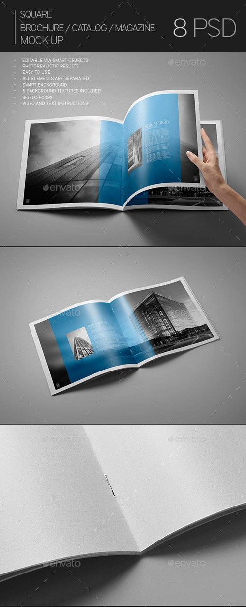 Square Brochure / Catalog / Magazine Mock-Up
