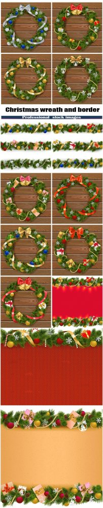 Vector Christmas wreath and border