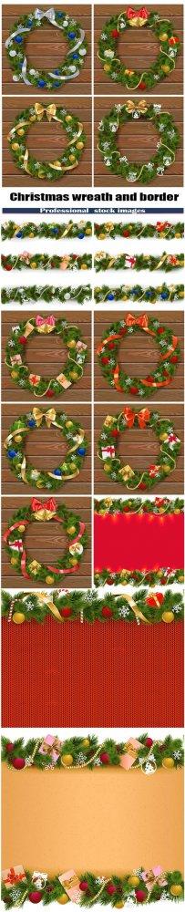 Vector Christmas wreath and border