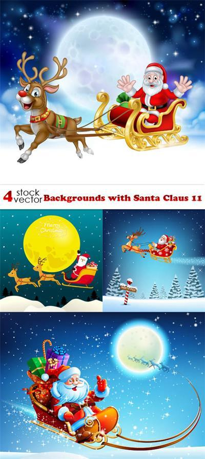 Vectors - Backgrounds with Santa Claus 11
