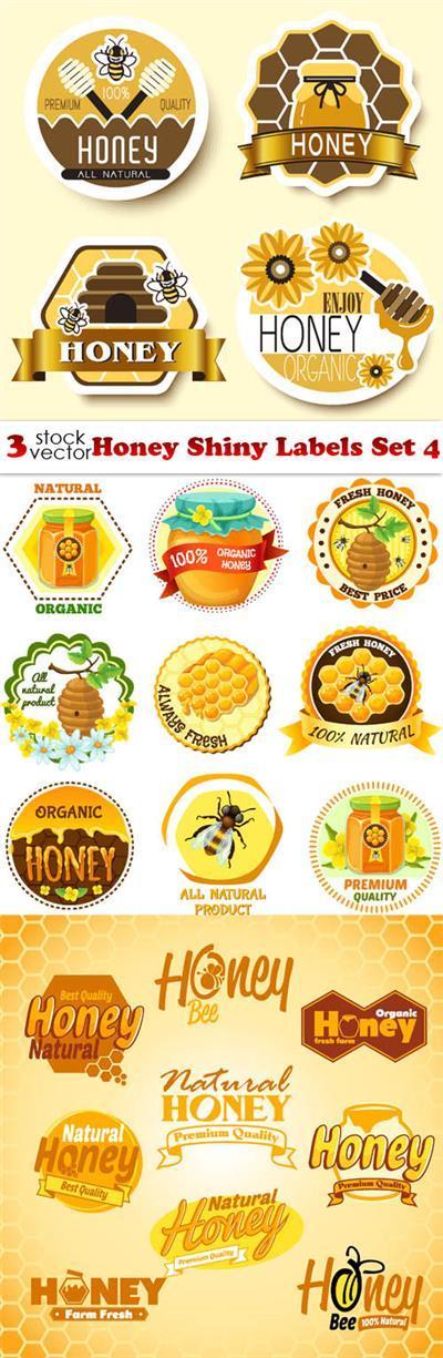 Vectors - Honey Shiny Labels Set 4