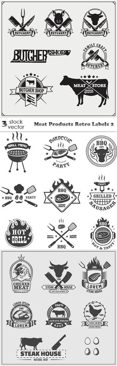 Vectors - Meat Products Retro Labels 2