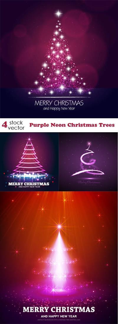 Vectors - Purple Neon Christmas Trees