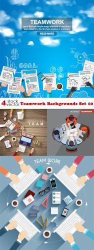 Vectors -- Teamwork Backgrounds Set 10