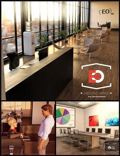 DAZ3D - i13 Executive Environment, Outfit And Pose Bundle
