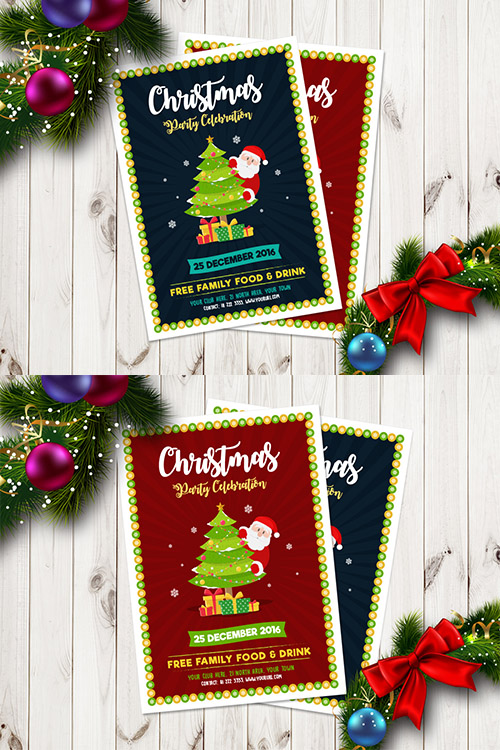 Ai Vector Flyer Template - Christmas And New Year 2017 Party Celebration