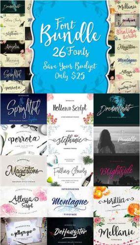 CreativeMarket - Font Bundle 26 Fonts by QueenType