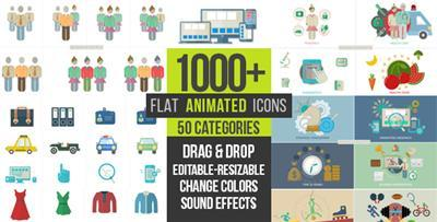 Flat Animated Icons 1000+ - Project for After Effects (Videohive)