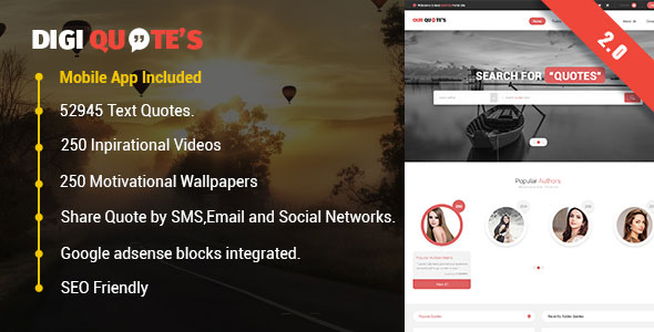 DigiQuotes - Ultimate Quotebasket PHP Script with Mobile App