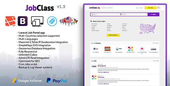 JobClass v1.3 - Geolocalized Job Portal Script