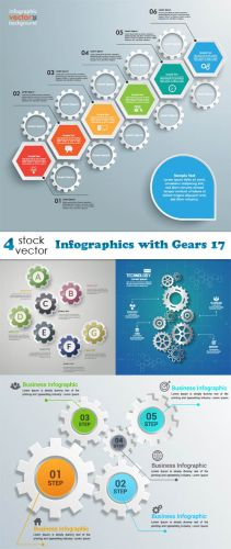 Vectors - Infographics with Gears 17