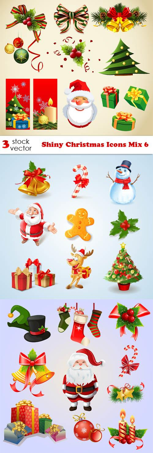 Vectors - Shiny Christmas Icons Mix 6