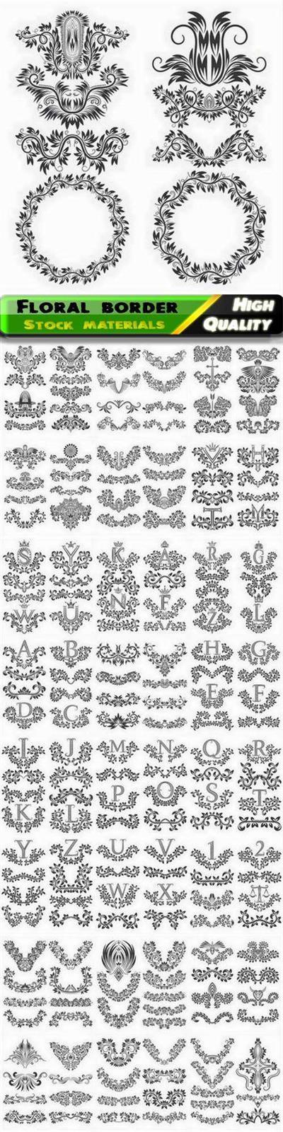Vintage calligraphy floral border divider frame corner with letter - 25 Eps