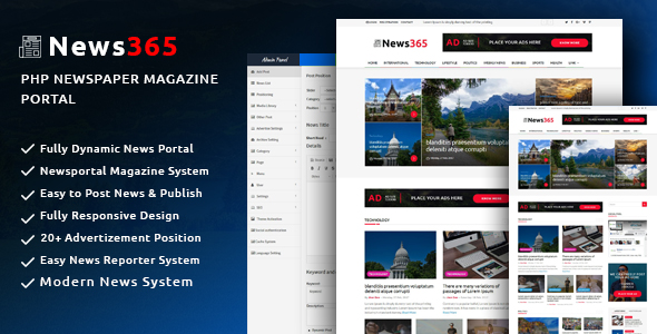 News365 v1.5 – PHP Newspaper Script Magazine Blog with Video Newspaper