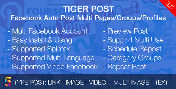 Tiger Post v3.0.2 - Facebook Auto Post Multi Pages/Groups/Profiles
