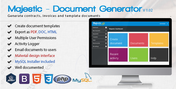 Majestic v1.02 - Create documents from templates. Easily generate contracts and invoices