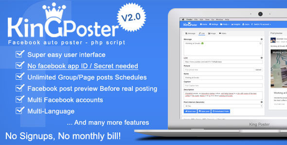 King poster v2.2.3 - Facebook multi Group / Page auto post - PHP script