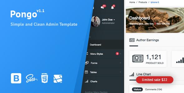 Pongo v1.1 - Laravel Admin Template + User Management + CRUD
