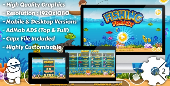Fishing Frenzy - HTML5 Game, Mobile Version+AdMob!!! (Construct-2 CAPX)