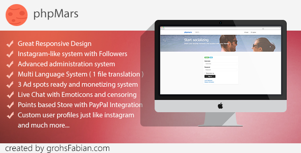 phpMars v1.0.9 - Photos Social Network ( instagram clone )