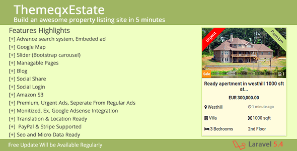 ThemeqxEstate v1.1 - Laravel Real Estate Property Listing Portal