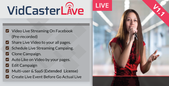 VidCasterLive v1.1 - Facebook Live Streaming With Pre-recorded Video