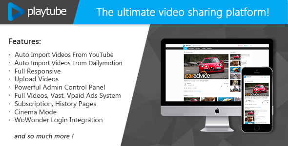 PlayTube v1.3 - The Ultimate PHP Video CMS & Video Sharing Platform