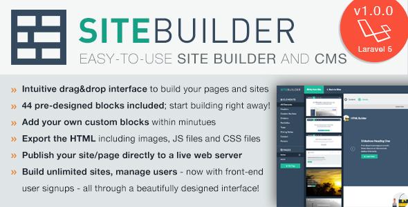 SiteBuilder Laravel v1.1.1 - Drag&Drop site builder and CMS