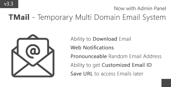 TMail v3.3 - Multi Domain Temporary Email System