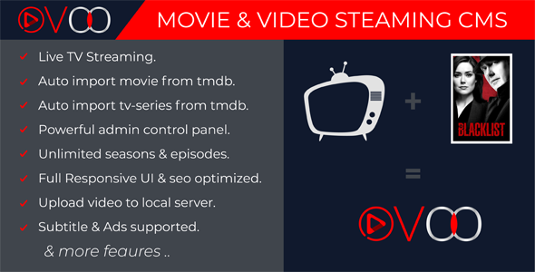 OVOO v2.5.5 - Movie & Video Streaming CMS with Unlimited TV-Series - nulled