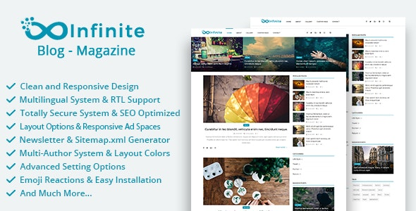 Infinite v3.9 - Blog & Magazine Script - nulled