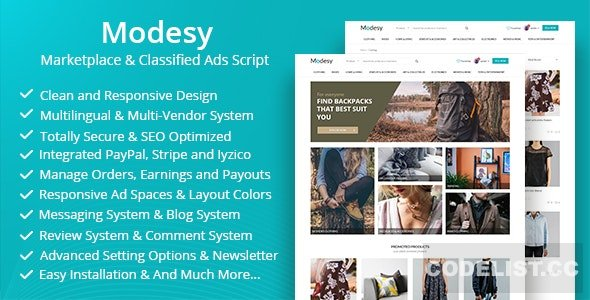 Modesy v1.6.2 - Marketplace & Classified Ads Script